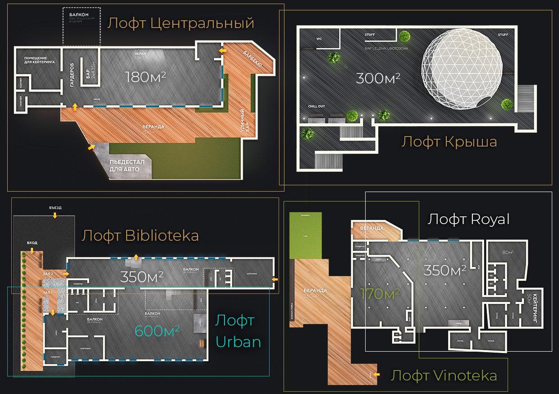 AGLoft схема залов
